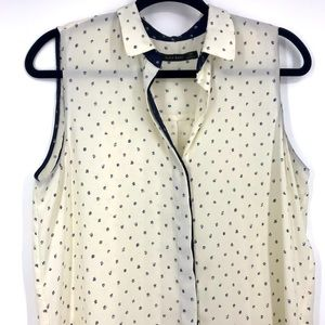 Zara print blouse with pleated back sleeveless med